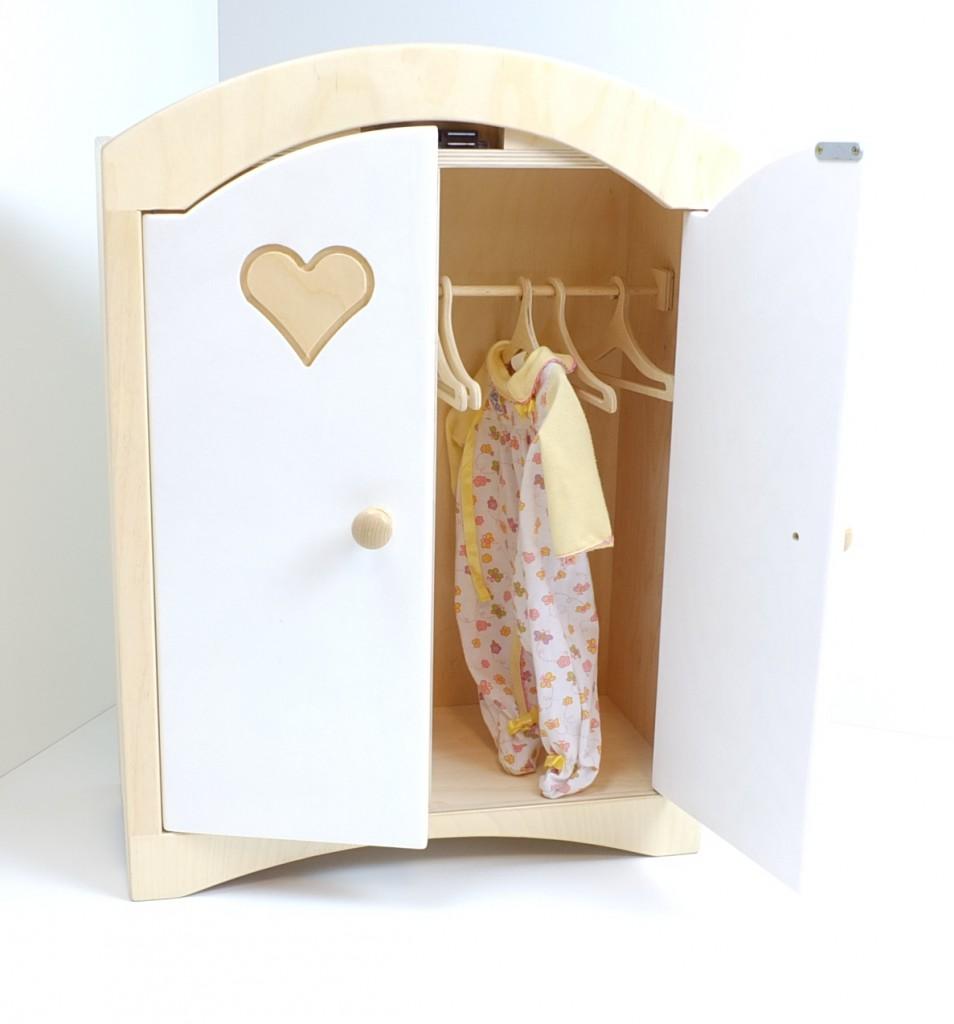 puppenkleiderschrank + 5 kleiderbügeln aus holz weiss ... - Puppenkleiderschrank Bauen