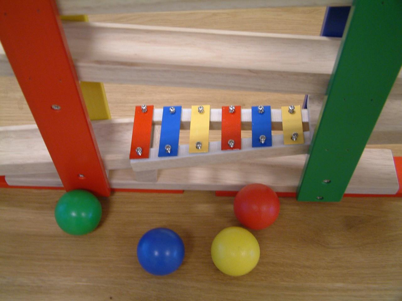 holz-kugelbahn mit xylophon + 4 kugeln (45 mm) holzbahn murmelbahn, Moderne