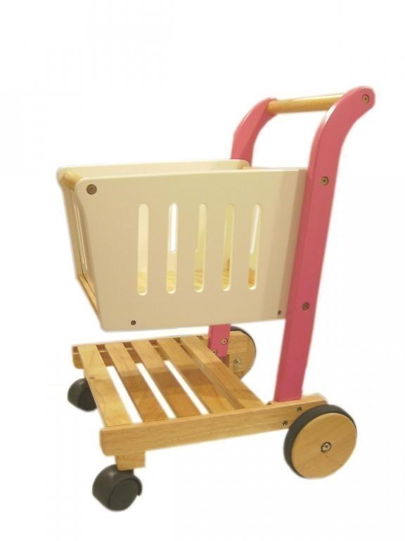 einkaufswagen pink kaufladen holz einkaufskorb supermarktwagen lauflernhilfe neu ebay. Black Bedroom Furniture Sets. Home Design Ideas