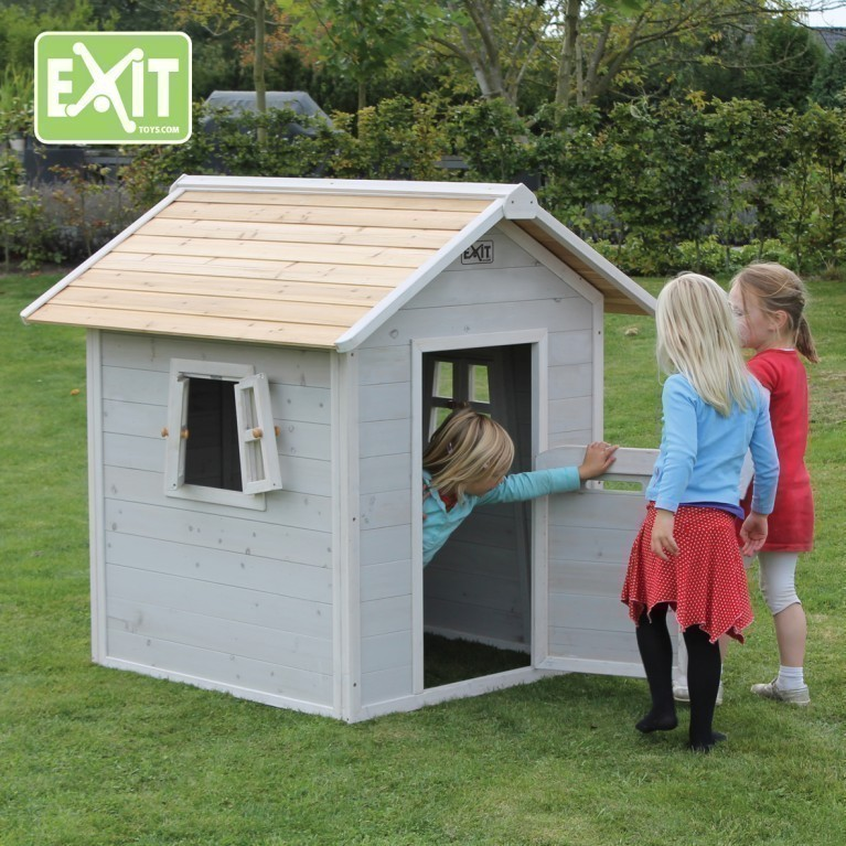 exit beach 100 grey spielhaus holz gartenhaus spielh tte kinder neu hexenhaus ebay. Black Bedroom Furniture Sets. Home Design Ideas