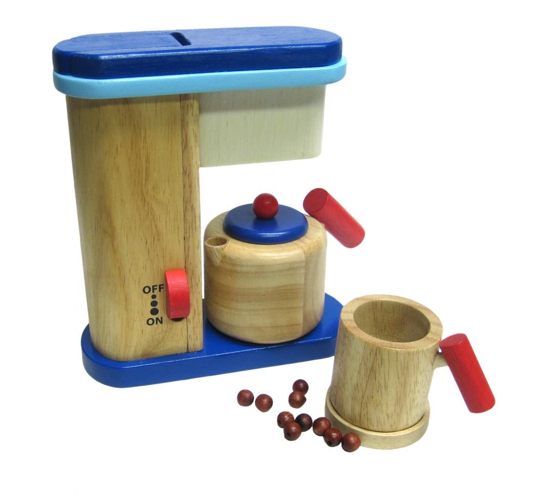 kaffeemaschine kanne tasse bohnen holz natur rot blau kaffeekanne kinderk che ebay. Black Bedroom Furniture Sets. Home Design Ideas
