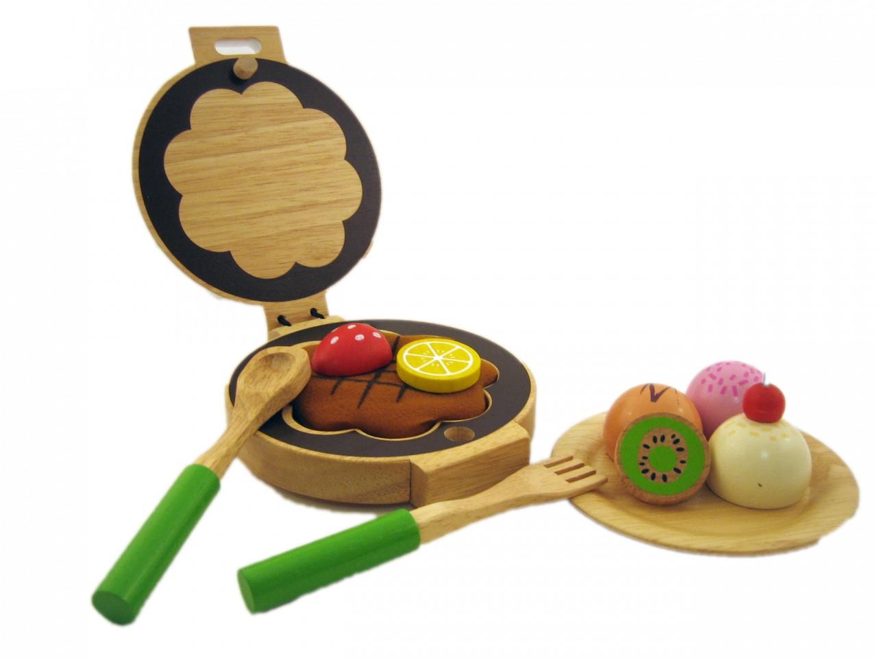 waffeleisen holz lackiert kinderk che backen waffeln essen spielen rollenspiel ebay. Black Bedroom Furniture Sets. Home Design Ideas