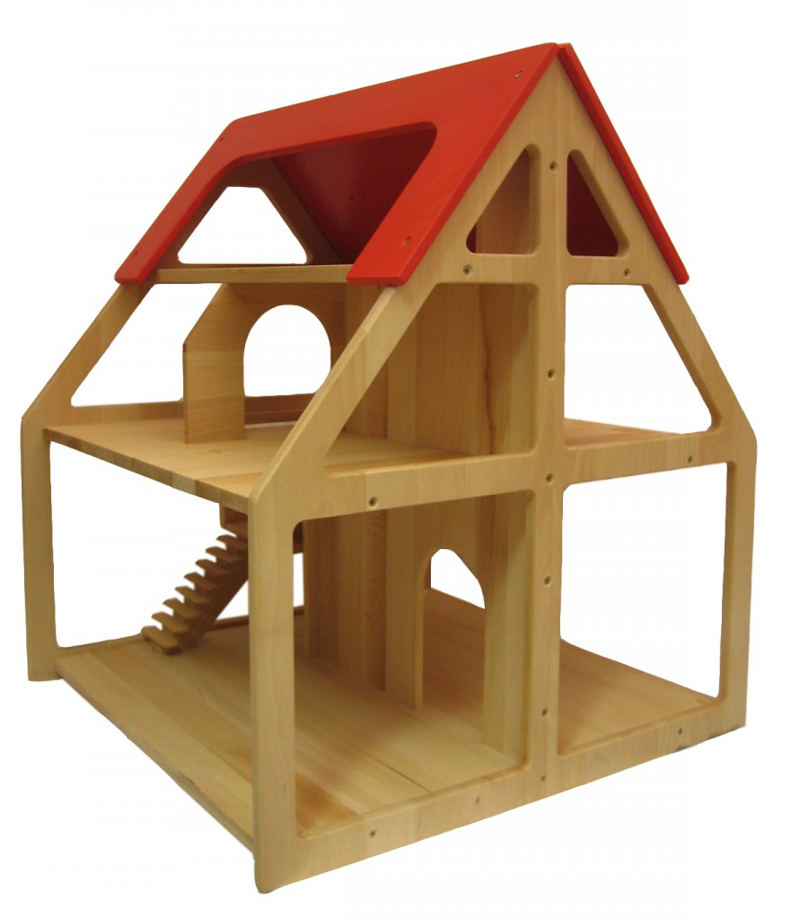 puppenvilla holz 58x58x70cm puppenhaus 3 etagen puppenstube zubeh r puppen neu ebay. Black Bedroom Furniture Sets. Home Design Ideas