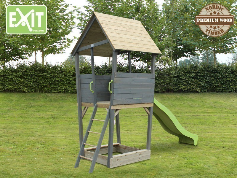 exit aksent spielturm holz spielhaus kletterturm stelzenhaus rutsche sandkasten ebay. Black Bedroom Furniture Sets. Home Design Ideas