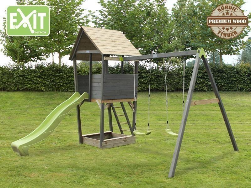 exit aksent spielturm holz spielhaus kletterturm schaukel rutsche sandkasten neu ebay. Black Bedroom Furniture Sets. Home Design Ideas