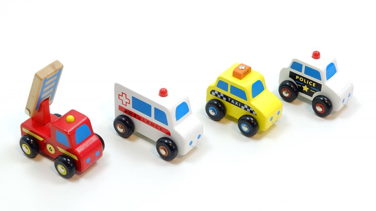sch nes fahrzeug set auto set bestehend aus 4 autos aus holz l nge der minifahrzeuge ca 8 5. Black Bedroom Furniture Sets. Home Design Ideas