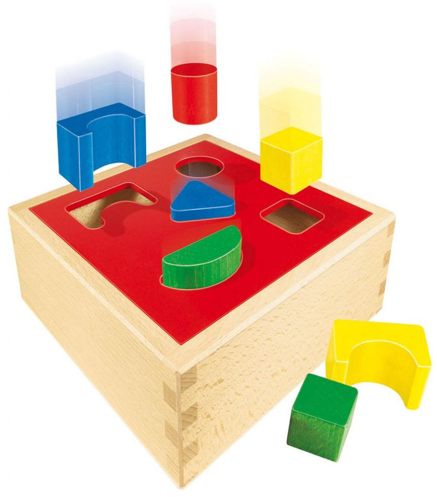 puzzle box sortierbox mit deckel f r geometrische formen. Black Bedroom Furniture Sets. Home Design Ideas