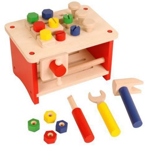 kleine werkbank werkzeug tischwerkbank aus holz farbe holzfarbend blau rot gelb und. Black Bedroom Furniture Sets. Home Design Ideas