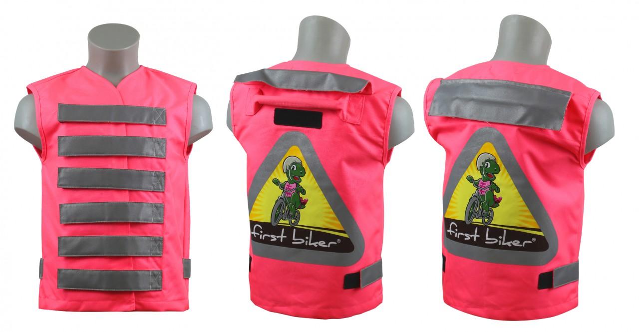 first biker kinderwarnweste farbe pink material stoff mit reflektoren einheitsgr e. Black Bedroom Furniture Sets. Home Design Ideas