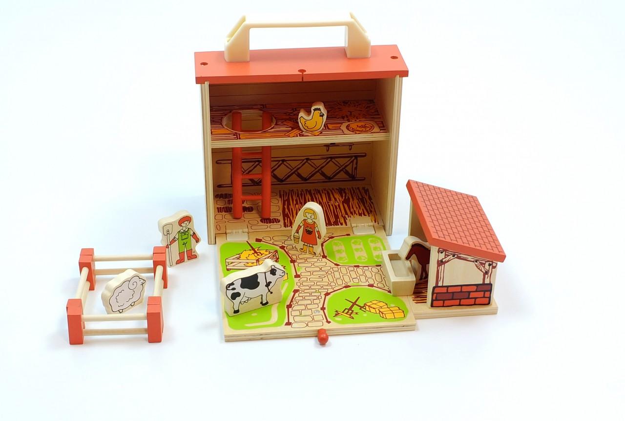 spielkoffer bauernhof aus holz aufklappbare holzbox inhalt 1 pferdestall 1 leiter 4. Black Bedroom Furniture Sets. Home Design Ideas