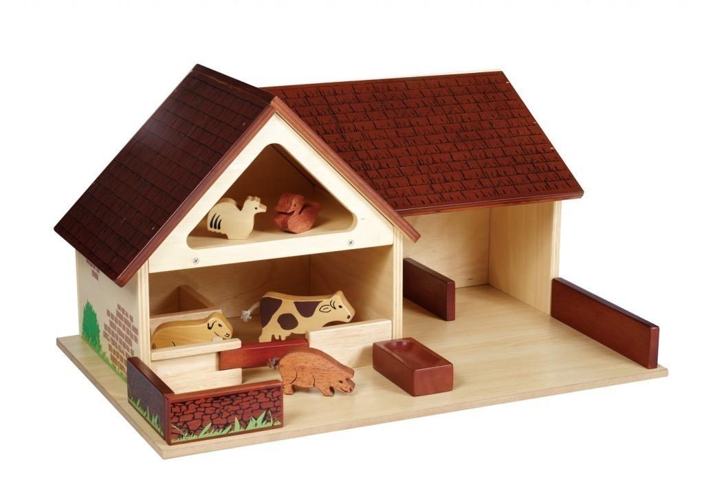 gro er bauernhof 4tlg bauern familie 8 bauernhof tiere aus holz alter f r kinder ab 3. Black Bedroom Furniture Sets. Home Design Ideas