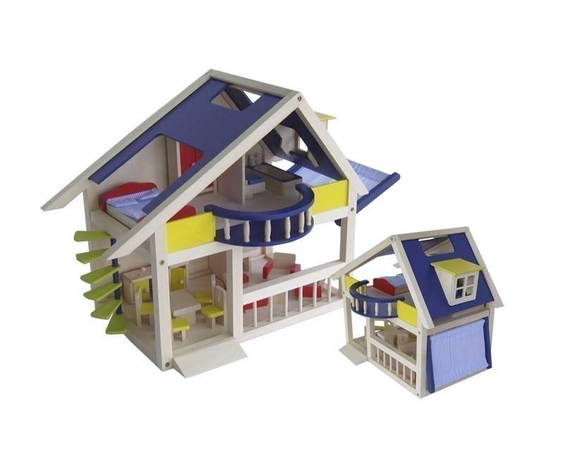 tolles holz puppenhaus mit 4 r umen wendeltreppe balkon dachausbau sonnensegel ma e ca. Black Bedroom Furniture Sets. Home Design Ideas