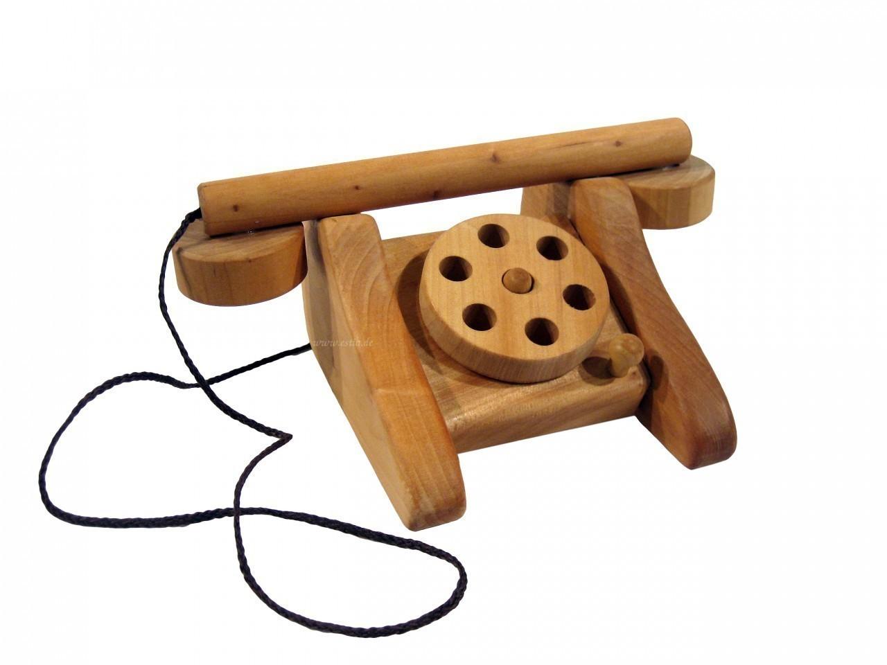 nostalgisches telefon mit w hlscheibe aus hartholz farbe holzfarbend ge lt ma e 17 x 17 x. Black Bedroom Furniture Sets. Home Design Ideas