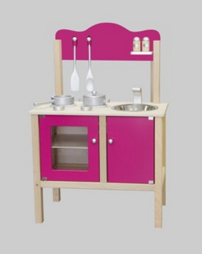 combi k che spielk che pink mit zubeh r aus holz gewicht ca 6 9 kg ma e 54 x 83 5 x 30. Black Bedroom Furniture Sets. Home Design Ideas