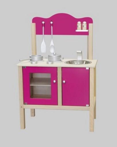 combi k che spielk che pink mit zubeh r aus holz. Black Bedroom Furniture Sets. Home Design Ideas