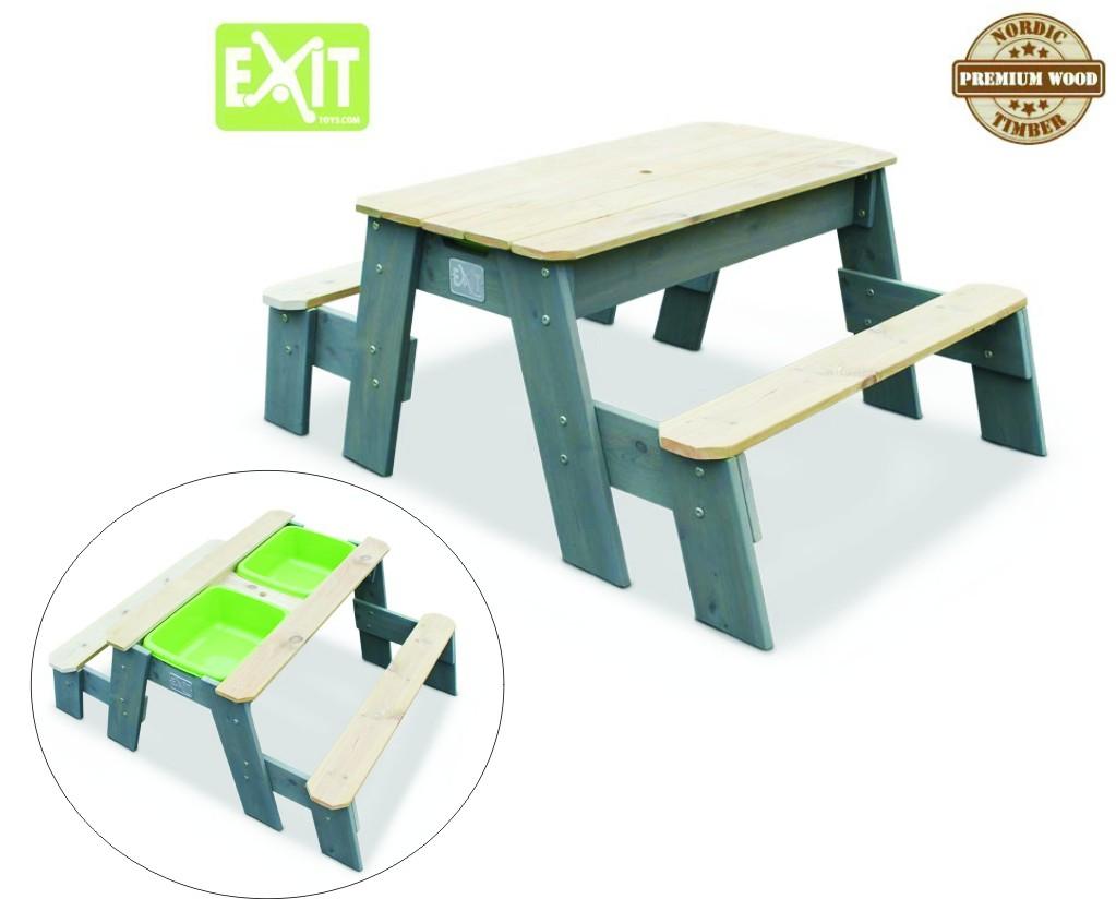 exit aksent sand wasser und picknicktisch 2 b nke inkl zwei kunststoffbecken material. Black Bedroom Furniture Sets. Home Design Ideas